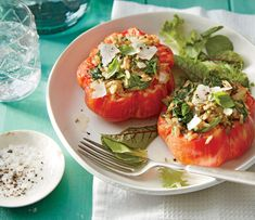 Stuffed Tomatoes with Pesto Rice - 21 Recipes to Get You Through Those Hot Summer Days - Southernliving. Recipe: Stuffed Tomatoes with Pesto Rice