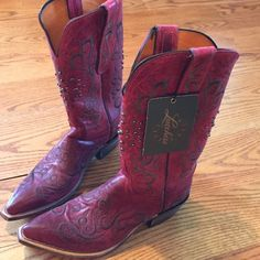 """💕2 x Hp💕CASUAL FRIDAY💕RED & BROWN studded💕7B💕 Great new boots. Pointy toe. 1 -3/4"""" heel. Red and brown studded boots. No box. Bought in Arizona. Left box at store took boots in my suitcase to go home. All tags are attached. @incognito13 picked these great new cowboy boots as a host pick on 11/20. Sweater weather host pick @chicaccessories gave me a host pick on 1/2/16. Lucchese  Shoes"""