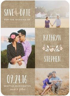 Wreathed in Love - Signature White Photo Save the Date Cards - Lady Jae - Cashmere Pink - Pink : Front