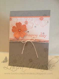 Laura's CAS card uses Flower Shop & its matching Pansy Punch with Happy Day.