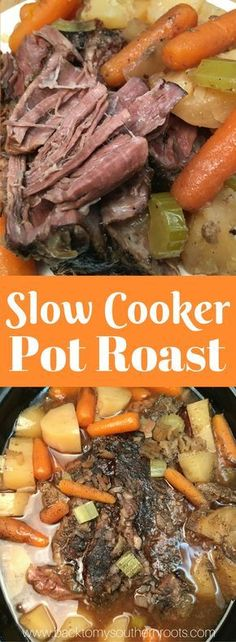 Slow Cooker Pot Roast is an easy recipe to fix for dinner. The delicious Crock P… Slow Cooker Pot Roast is an easy recipe to fix for dinner. The delicious Crock Pot recipe, with plenty of seasoning, will feed a family of six with ease. Easy Pot Roast, Beef Pot Roast, Pot Roast Recipes, Slow Cooker Recipes, Beef Recipes, Healthy Recipes, Dinner Recipes, Healthy Drinks, Slow Cooker Pot Roast