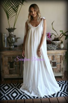 dc519d2f35 Cotton Nightgown Backless Off White Cotton Sleepwear Honeymoon Cotton Gowns