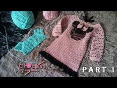 كروشيه فستان شتوي لاي مقاس ينفع ايضا اشتغاله كبلوزة -الجزء الاول/ شرح جد... Moda Crochet, Free Crochet, Knit Crochet, Crochet Dress Girl, Crochet Clothes, Knitting For Kids, Crochet For Kids, Hoodie Pattern, Crochet World