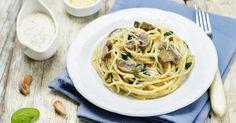 Recette de Spaghettis régime aux champignons et fromage blanc. Facile et rapide à réaliser, goûteuse et diététique.