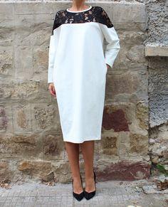 White Maxi Dress, Kaftan, Plus size dress, Midi dress, Fall Winter dress, Long sleeves dress, Dress with pockets, Lace dress