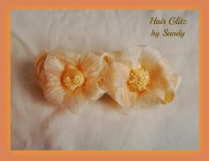 $5.00 Apricot flower barrette, soft and beautiful.  All hand sewn.  Now available at www.hairglitzbysandy.etsy.com