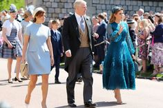 Princess Eugenie, Prince Andrew and Princess Beatrice arrive.