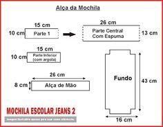 Artesã Virtual: Mochila escolar jeans