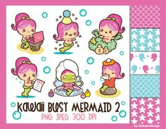 50% OFF SALE Mermaid clipart mermaid clip art kawaii