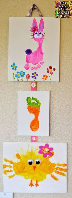 Easter Hand Print and Footprint Crafts Materials: Canvas, Paint, Brushes, Straw For the Chick, and For the bunny rabbits we used wiggle eyes and pom pom tails. So many of you may have seen my previous post with a different bunny, I have chosen to change the bunny in this craft since the bunny I had was not my original idea and I was never able to find the owner/ creator of it. I loved that craft a great deal but I never felt right about not being able to link to the original persons page...