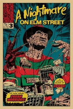 A Nightmare On Elm Street Dream Warriors - art by Johnny Dombrowski - Freddy Krueger - horror - horrorart - horrormovie - horrorposter Vintage Horror, Vintage Cartoon, Vintage Comics, Vintage Posters, Cartoon Posters, Horror Movie Posters, Film Posters, Cartoons, Dream Warriors