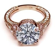 Cathedral Graduated pave Engagement Ring In Rose Gold  #rings #engagement ring