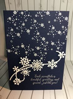 I love the contrast of Night of Navy with white embossing! Creative Christmas Cards, Christmas Cards 2018, Homemade Christmas Cards, Stampin Up Christmas, Noel Christmas, Xmas Cards, Handmade Christmas, Holiday Cards, Greeting Cards