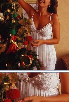 Santa Clara Artesanato: Blusa de crochê com franjas