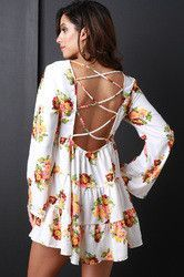 Floral Corset Back Babydoll Dress