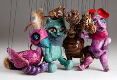 Welcome our new ceramic marionettes puppets - the circus animals, which will bring so much fun and colours into your household. Big applause for Bird the Singer, Dragon the Acrobat, Funny Mouse and Smart Cat. Marionette Puppet, Puppets, Funny Mouse, Cute Animals, Pottery, Cats, Creative, Handmade, Fictional Characters