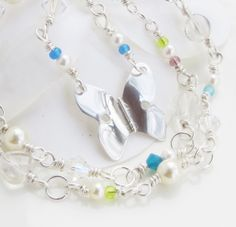 Sterling silver butterfly and seedbead necklace kimmeline.epla.no