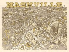 Illustrated Map of Nashville - If you like <em>Where's Waldo</em>, you will love this map of Music City! Loaded with whimsical detail, this charming map depicts dozens of famous landmarks, neighborhoods and cultural icons. This intricately illustrated map is perfect wall decor for any home or office.