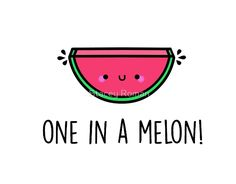 You're one in a melon pun. Great Valentine gift for him or for her. Available in tshirt, hoodie, mugs, laptop skins, cellphone cases and more! puns You're ONE in a MELON Punny Puns, Cute Puns, Funny Food Puns, Food Meme, Food Food, Fruit Food, Diy Food, Food Art, Baby Silhouette