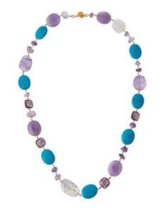 Long+Amethyst+&+Turquoise+Beaded+Necklace+by+Devon+Leigh+at+Neiman+Marcus+Last+Call.