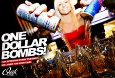 ONE DOLLAR BOMBS EVERY TUESDAY NIGHT AT OAK LOUNGE MILWAUKEE! DJ JAEBEA ON THE DECKS! WE WANT TO PARTY WITH YOU!