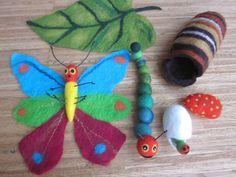 Fingerpuppen & Handpuppen - Die kleine Raupe Nimmersatt als großes Set - ein Designerstück von Giselas-Hingucker bei DaWanda