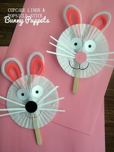 Cupcake Liner & Craft Stick Easter Bunny Puppets Craft: