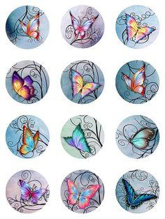 30 y mariposas remolinos papel acuarela Pastel descarga