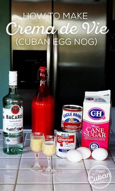 Crema de Vie (Cuban Egg Nog) Recipe - My Big Fat Cuban Family - Cuban Crema de Vie Recipe – A Toast! In the first few years of my family's exile, we still had - Pan Cubano Recipe, Pollo Recipe, Eggnog Recipe, Cuban Desserts, Cuban Recipes, Cake Recipes, Christmas Drinks Alcohol, Sweets, Liqueurs