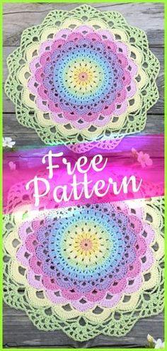Crochet Pattern Magic Water Lily Mandala – Knitting patterns, knitting designs, knitting for beginners. Free Mandala Crochet Patterns, Crochet Dreamcatcher Pattern, Crochet Stitches Patterns, Doily Patterns, Knitting Patterns, Crochet Placemats, Crochet Doily Rug, Thread Crochet, Crochet Round