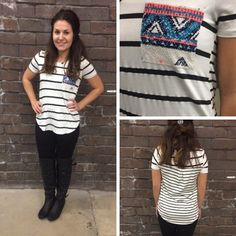 What a unique, striped, black and white top! The front features an aztec knit detailed pocket and we LOVE how the back has different striped detailing making this top flatter in all the right places! ;) - $23 #newarrival #aztec #stripes #blackandwhite #favorite #Springfashion #apricotlanedesmoines #ootd