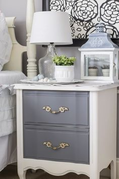 Bedroom makeover with updated vintage nightstand