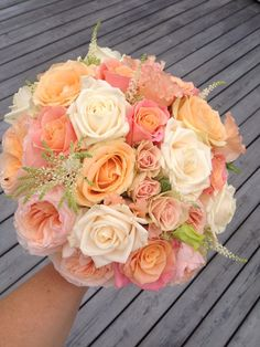 Peach, pink and coral with Miss Piggy roses Reception Coral Wedding Flowers, Prom Flowers, Wedding Colors, Bride Flowers, Wedding Themes, Our Wedding, Wedding Decorations, Stage Decorations, Wedding Stage