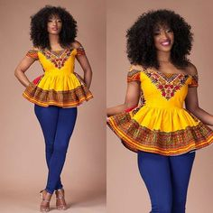 Perfect Ankara tops with different shades For Fabulous Ladies - NALOADED African Inspired Fashion, Latest African Fashion Dresses, African Print Fashion, African Attire, African Wear, African Dress, African Lace, Moda Afro, African Blouses