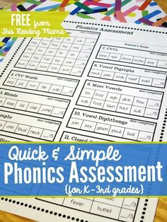 Teach Your Child to Read - Quick and Simple FREE Phonics Assessment for Grades -This Reading Mama Give Your Child a Head Start, and.Pave the Way for a Bright, Successful Future. Kindergarten Assessment, Reading Assessment, Kindergarten Reading, Teaching Reading, Guided Reading, Phonics Reading, First Grade Assessment, Reading Comprehension, First Grade Phonics