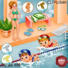 Lemur, Paint Shop, Photoshop Elements, Photo Book, Digital Scrapbooking, Cool Kids, Design Elements, Swimming, Kit