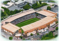 Inch Print (other products available) - Watercolour of Molineux, home of Wolverhampton Wanderers F. Capacity Original painting created in 2001 by Kevin Fletcher. - Image supplied by Sports Stadia Art - print made in the UK Football Stadiums, Football Field, Championship League, Wolverhampton Wanderers Fc, Image Foot, Fine Art Prints, Canvas Prints, Aerial View, Art Images