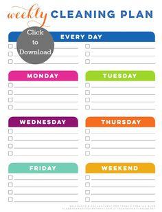 Weekly Cleaning Schedule Printable- blank| TodaysCreativeBlog.net