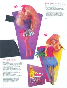 "Hasbro's 1987 toy catalog for Jem & The Holograms including ""Rock n' Curl"" & ""Flash n' Sizzle"" Jem dolls. Thanks to the the Jem vs. Prancetron fan site."