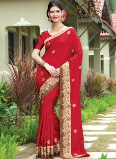 raw silk sarees online india.Authentic elegance can come out as a result of the dressing design with this Deep Scarlet Dupioni Raw Silk Saree. The ethnic