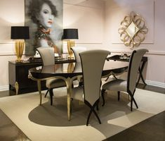 A great mirror, beautiful painting and dining room furniture that is unmistakably CHRISTOPHER GUY in the Barrymore showroom. Dining Room Furniture, Home Furniture, Handmade Furniture, Room Chairs, Furniture Design, Living Room Interior, Living Room Decor, Christopher Guy, High Back Dining Chairs