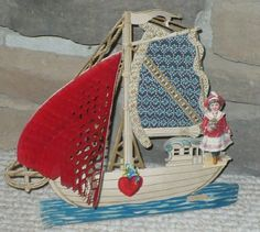 """pop-up style with 3 layered panels and a crepe paper honeycomb detail plus printed vellum """"stained glass"""" panel. Printed in Germany. Valentine Images, Valentine Day Crafts, Victorian Valentines, Honeycomb Paper, Crepe Paper, Up Styles, Glass Panels, Vintage Paper, Sailboat"""