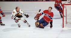 Bobby Hull, Chicago Blackhawks and Gump Worsley, Montreal Canadiens Boston Bruins Hockey, Blackhawks Hockey, Hockey Goalie, Hockey Games, Chicago Blackhawks, Montreal Canadiens, Hockey Highlights, Hockey Shot, Bobby Hull