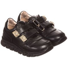 Young Versace - Black Leather Velcro Trainers with Gold Medusas | Childrensalon