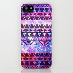 Girly Andes Aztec Pattern Pink Teal Nebula Galaxy iPhone Case by Girly Trend - $35.00