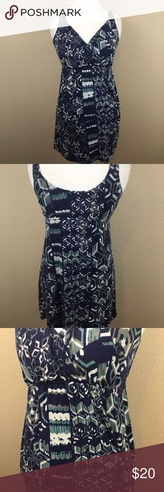 CAbi Batik Blue Geometric Tunic Tank Top CAbi batik Blue Tunic Tank, style 359 Perfect summer/vacation Top.  Straps have lastic in them are very stretchy  Excellent used condition  Size Small CAbi Tops Tank Tops