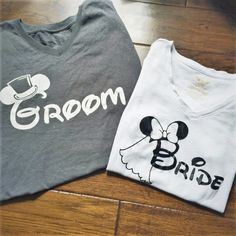 Disney Bride and Groom Shirts Honeymoon Shirts Minnie Mouse Bride Mickey Groom Wedding Gift Dis Disney Wedding Gifts, Wedding Gifts For Bride And Groom, Best Wedding Gifts, Trendy Wedding, Groom Shirts, Bride Shirts, Wedding Shirts, Wedding Dresses, Disney Couple Shirts