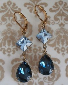 Vintage Sapphire Blue Swarovski Crystal Earrings by starlitedesigns ~ #Vintage #Jewelry #Swarovski #Crystals #Bridesmaids #Bridal #Weddings #Blue #ECO #Green #Fashion #Style #Design #Handmade #ETSY #VintageJewelry #EcoChic #EcoFriendly #ART