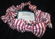 New Longaberger Basket Sweetheart Red Ticking Garter Medium 100% Cotton #BasketGarter