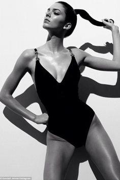 Kendall Jenner black and white swimsuit shoot...jealous....love her